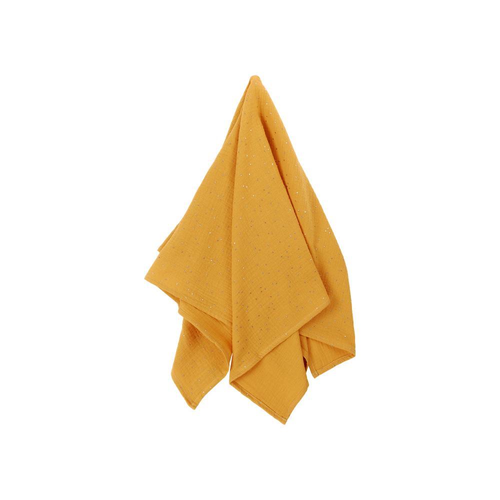 KraftKids Halstuch Musselin goldene Punkte auf Gelb