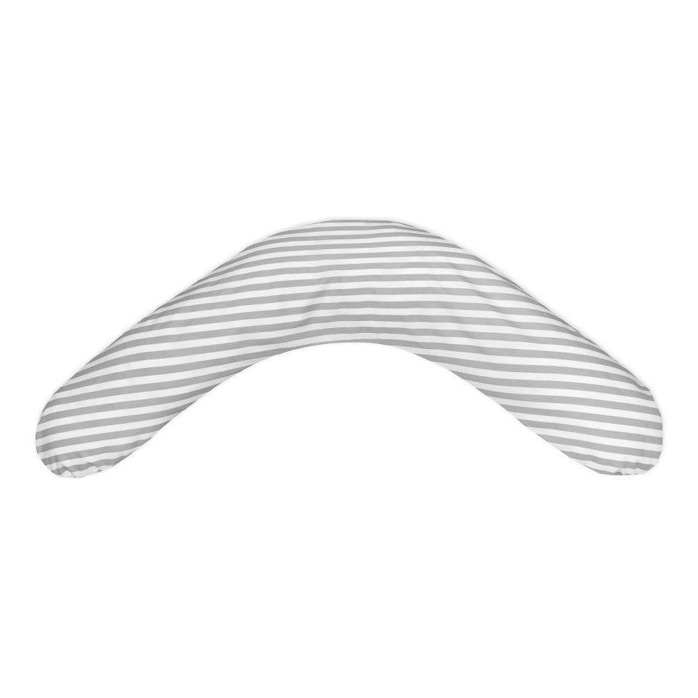 KraftKids qualitäts Stillkissen dicke Streifen grau mit geprüften Micro-EPS-Perlen mit