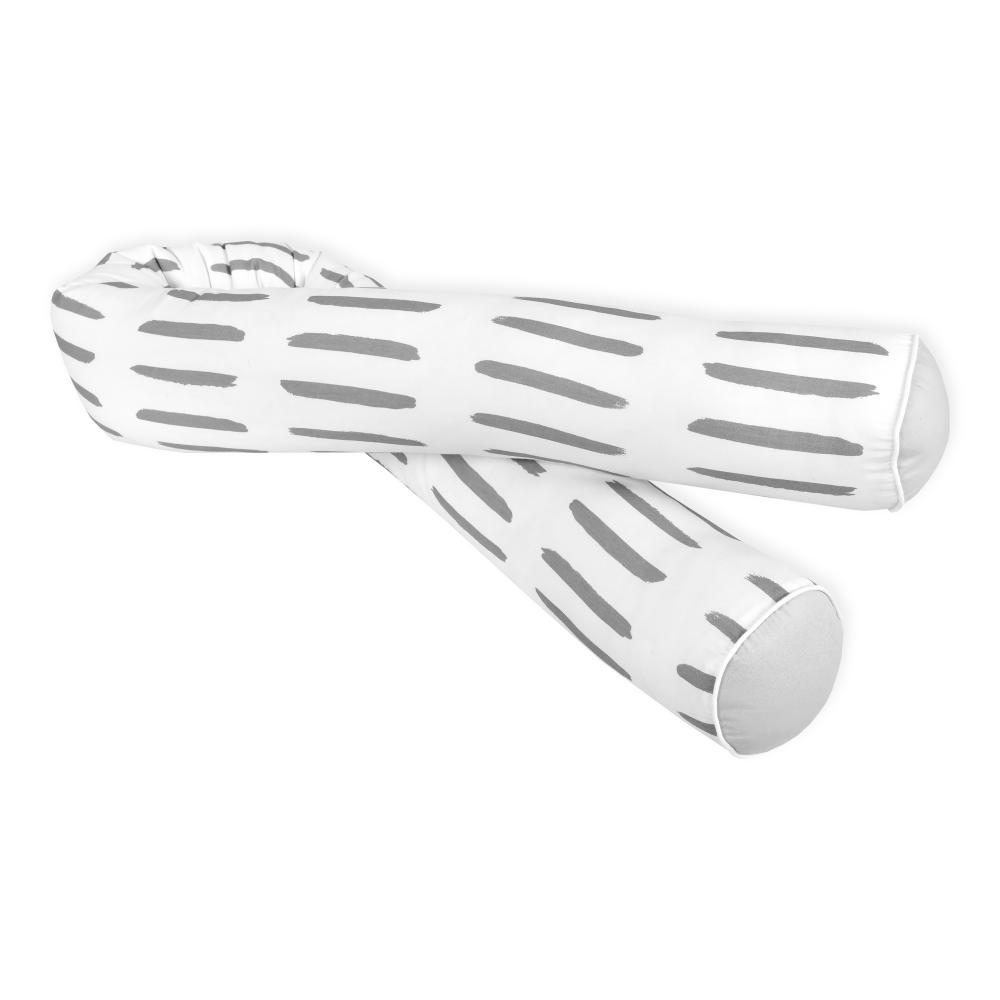 KraftKids Bettrolle Unigrau und graue Striche auf Weiß Stärke: 10 cm, Rollenlänge 100 cm