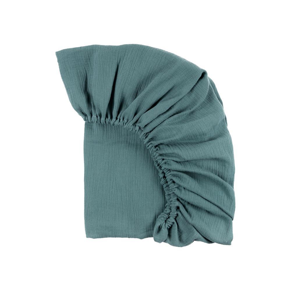 KraftKids Spannbettlaken Musselin nilblau passend für Matratze 90 x 200 cm