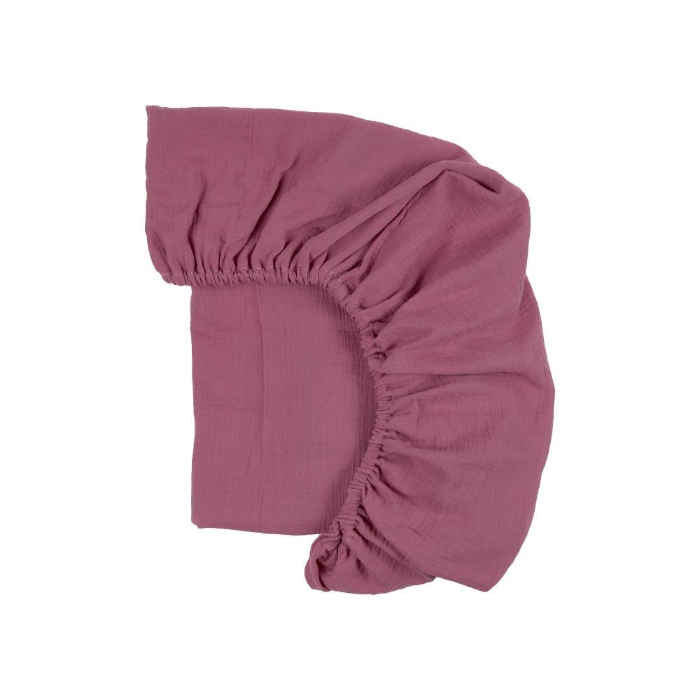 KraftKids Spannbettlaken Musselin purpur passend für Matratze 90 x 200 cm