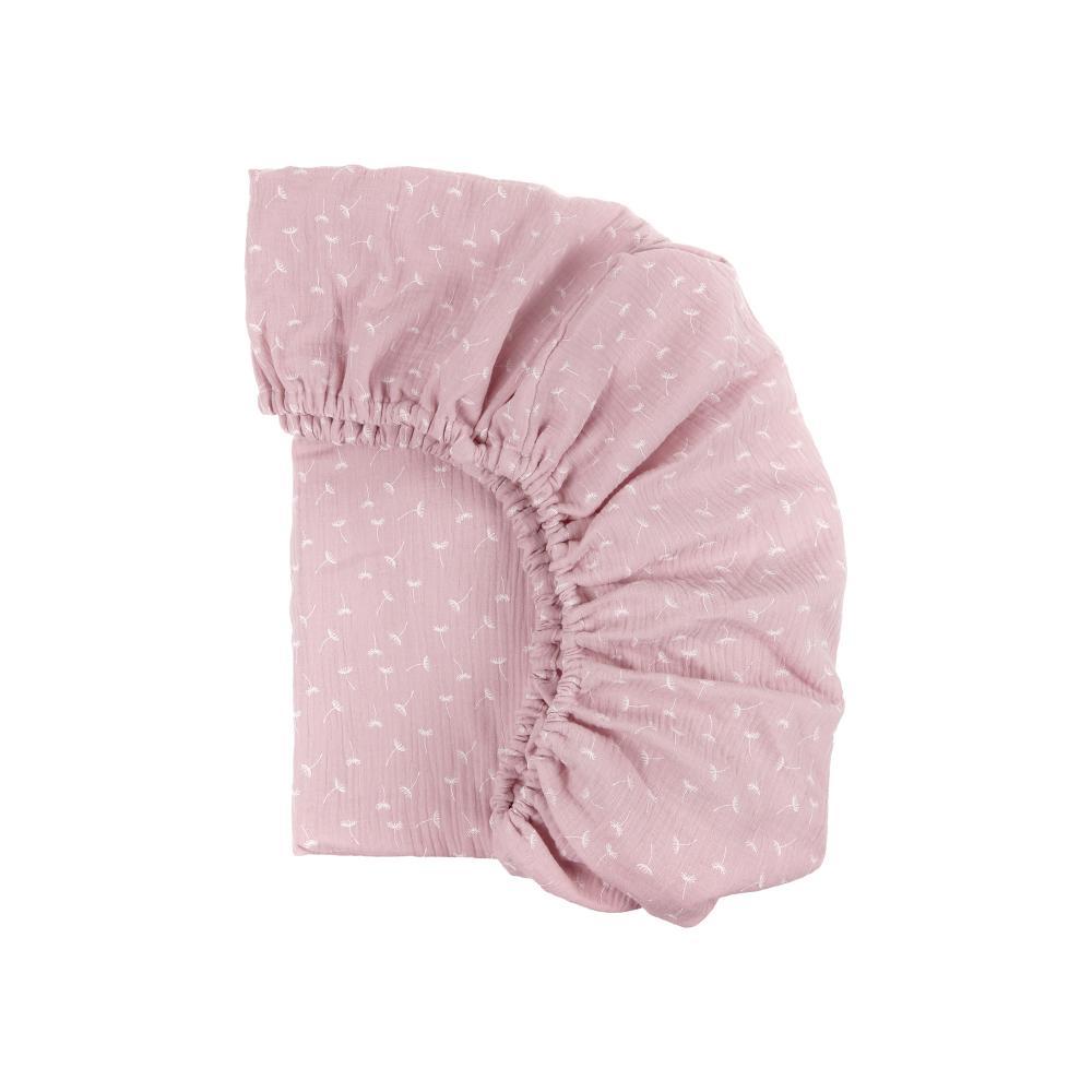 KraftKids Spannbettlaken Musselin rosa Pusteblumen passend für Matratze 90 x 200 cm