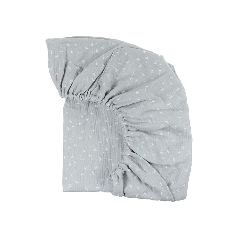 KraftKids Spannbettlaken Musselin grau Pusteblumen passend für Matratze 90 x 200 cm