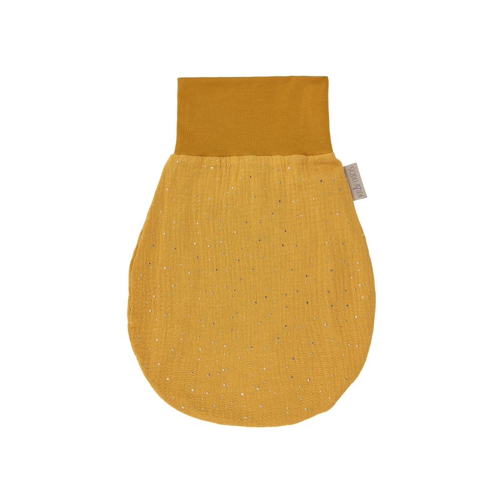 KraftKids Strampelsack Herbst Winter Musselin goldene Punkte auf Gelb Größe 80 cm (12 bis 18 Monate)