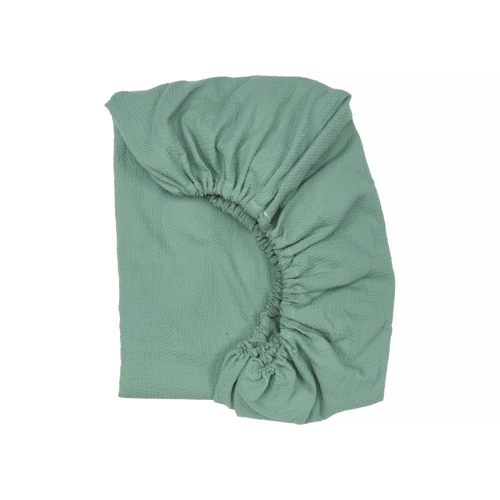 KraftKids Spannbettlaken Doppelkrepp Grün Jade passend für Matratze 120 x 60 cm