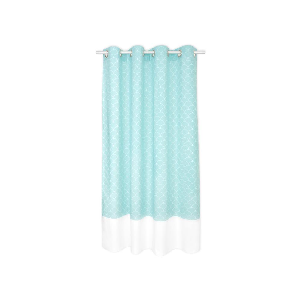 KraftKids Gardinen Uniweiss und weiße Halbkreise auf Pastelmint Länge: 170 cm
