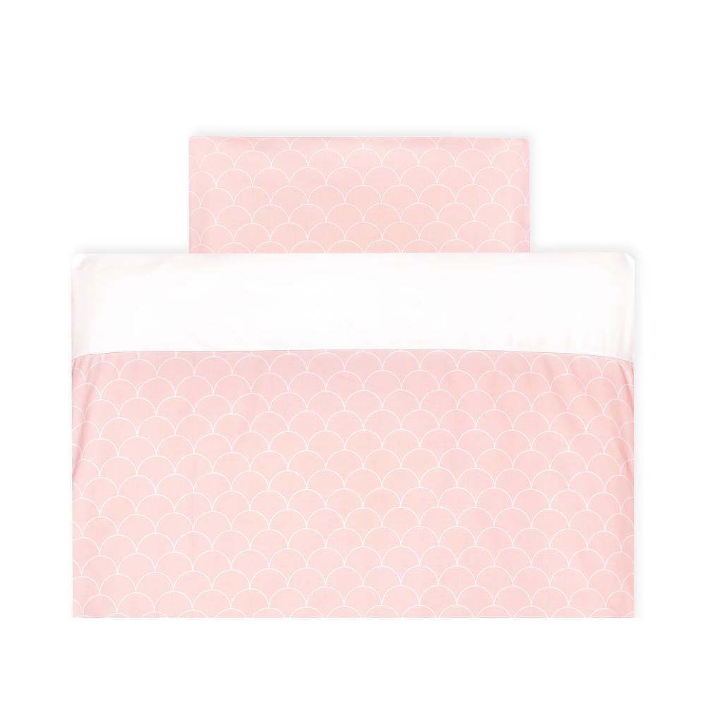 KraftKids Bettwäscheset Uniweiss und weiße Halbkreise auf Pastelrosa 140 x 200 cm, Kissen 80 x 80 cm