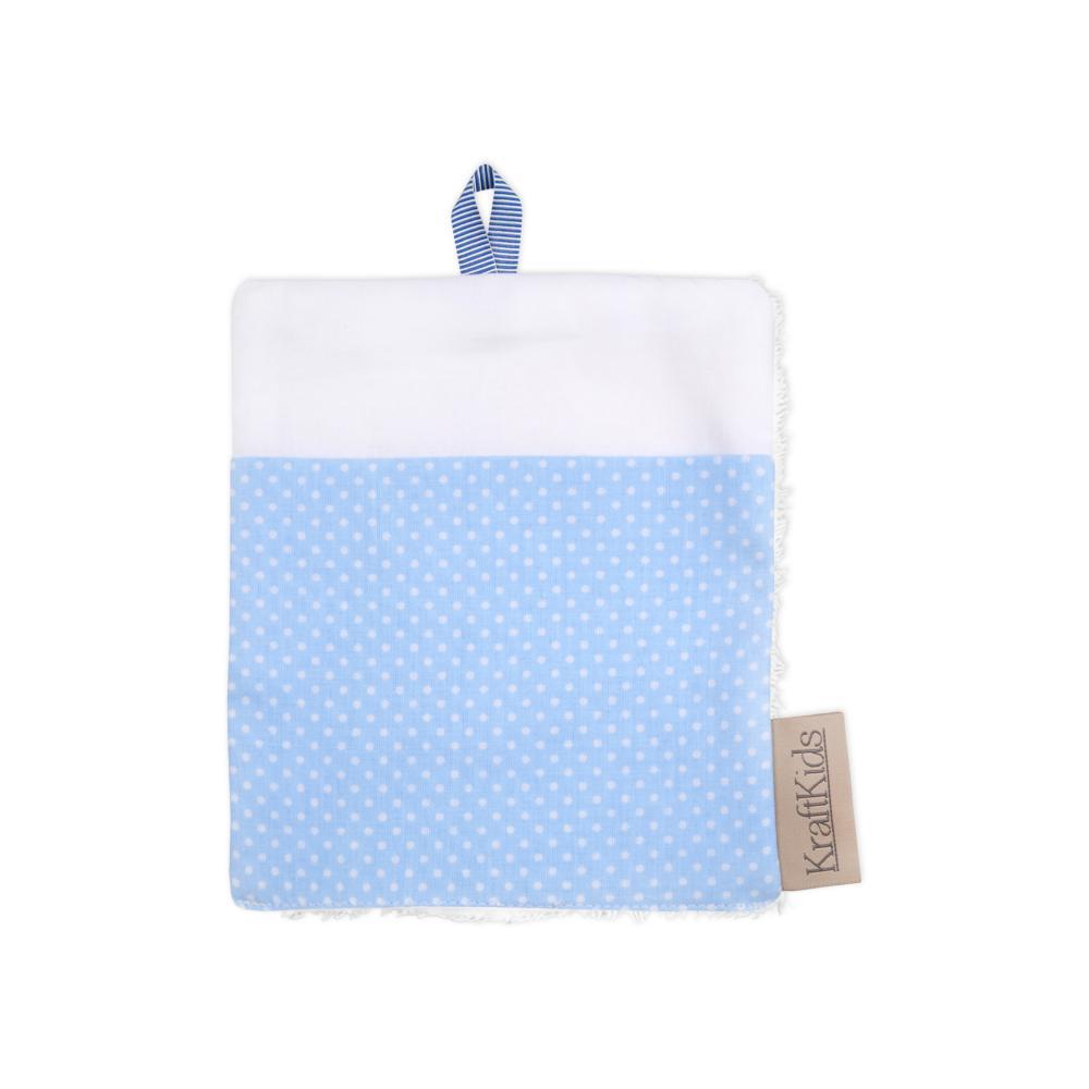 KraftKids Waschlappen weiße Punkte auf Hellblau