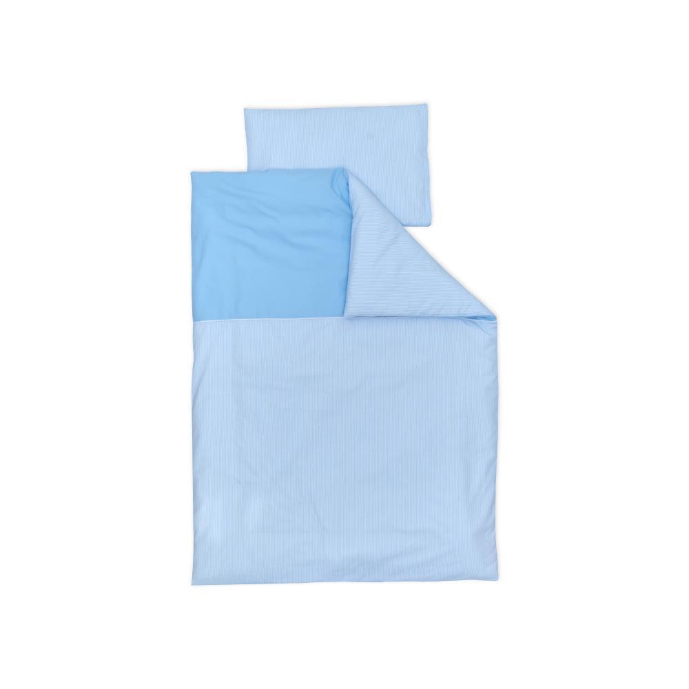 miniFifia Bettwäscheset Unihellblau und Streifen hellblau dünn 100 x 135 cm, Kissen 40 x 60 cm