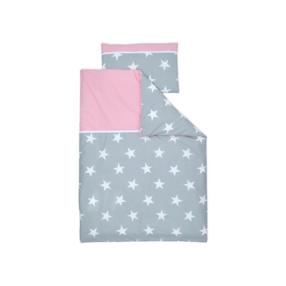 miniFifia Bettwäscheset große weiße Sterne auf Grau und Unirosa 100 x 135 cm, Kissen 40 x 60 cm
