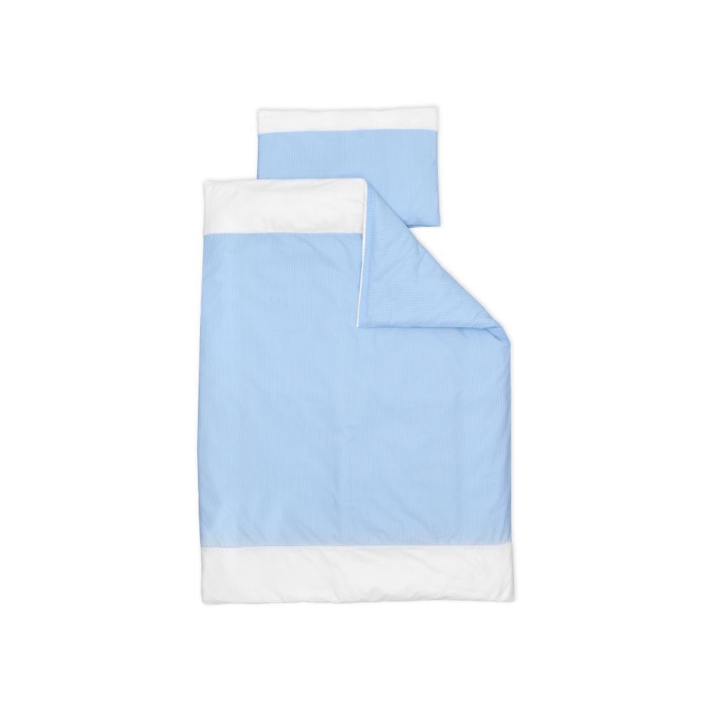 miniFifia Bettwäscheset Uniweiss und Streifen hellblau dünn 100 x 135 cm, Kissen 40 x 60 cm