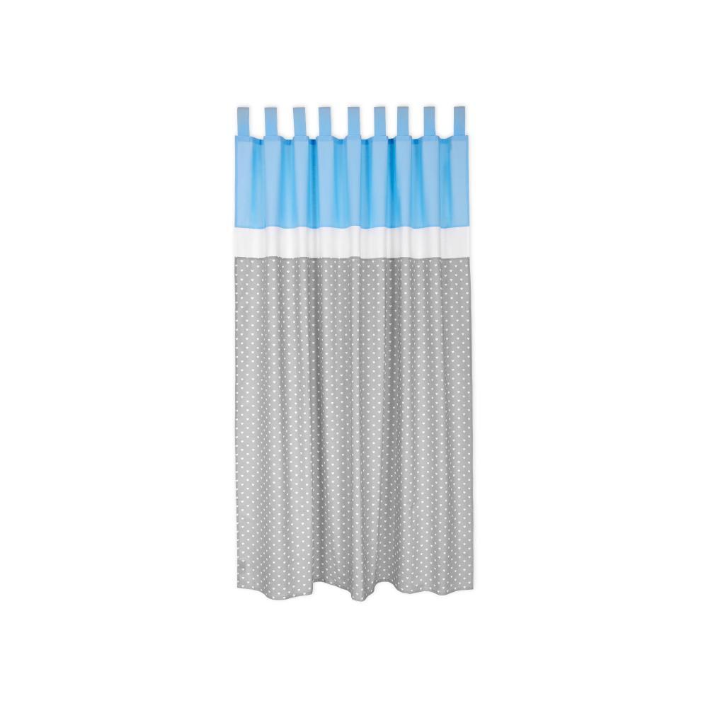 miniFifia Gardinen weiße Herzen auf Grau und Unihellblau Inhalt: 2 Schals