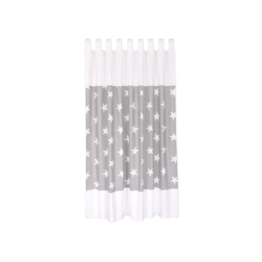 miniFifia Gardinen große weiße Sterne auf Grau und Uniweiss Inhalt: 2 Schals