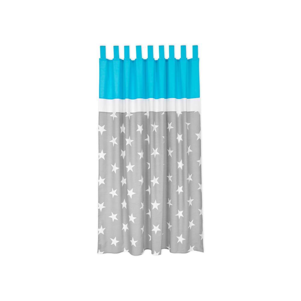 miniFifia Gardinen große weiße Sterne auf Grau und Unitürkis Inhalt: 2 Schals