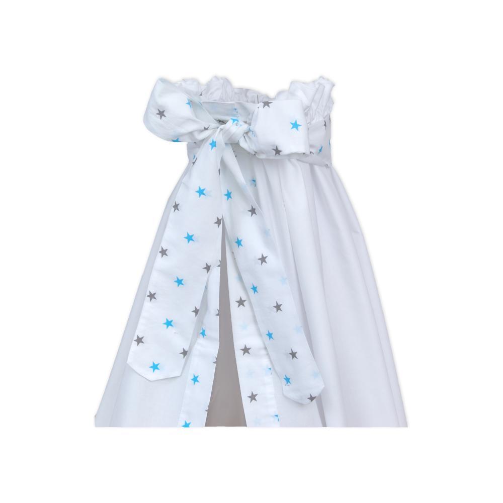 miniFifia Betthimmel graue blaue Sterne auf Weiss