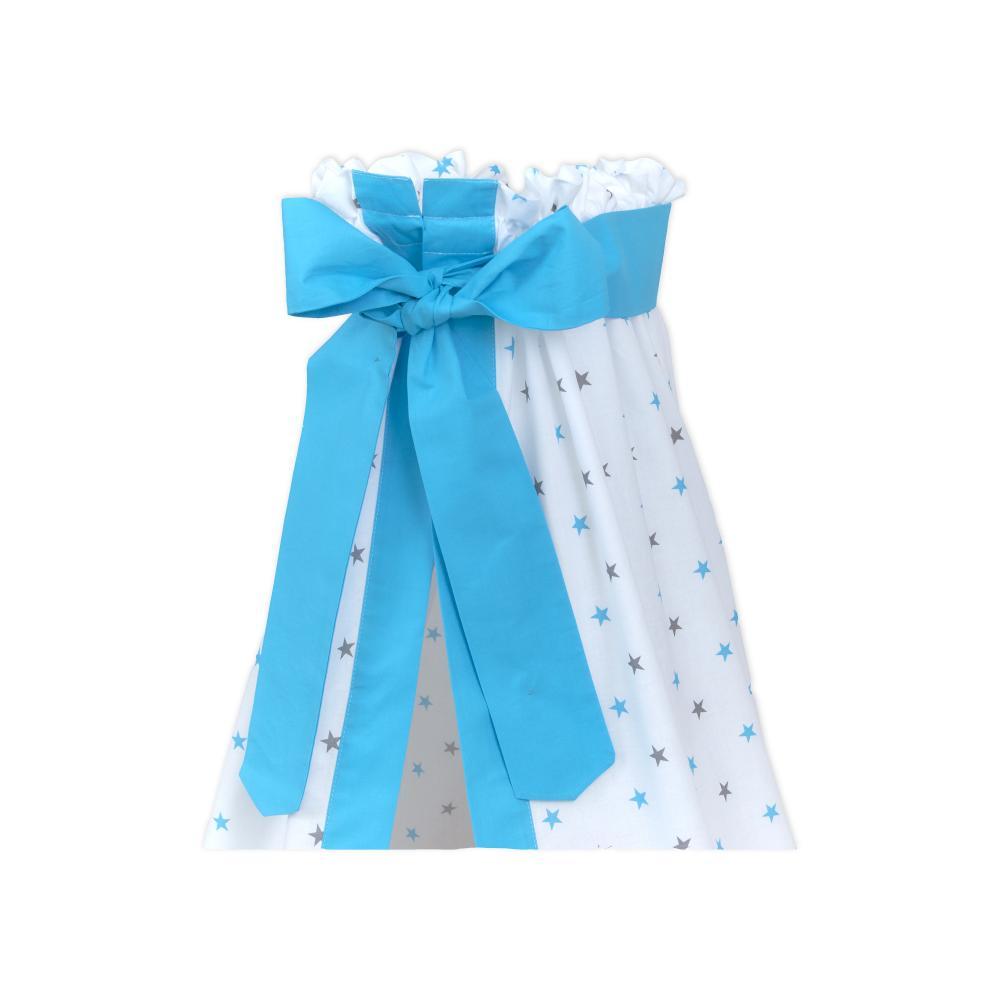 miniFifia Betthimmel graue blaue Sterne auf Weiss und Unitürkis