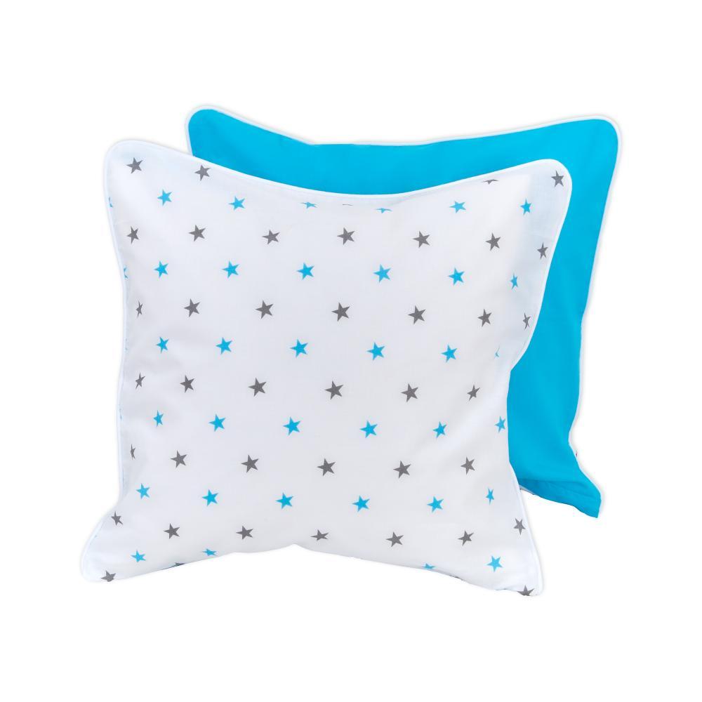 miniFifia Kissenbezug graue blaue Sterne auf Weiss und Unitürkis