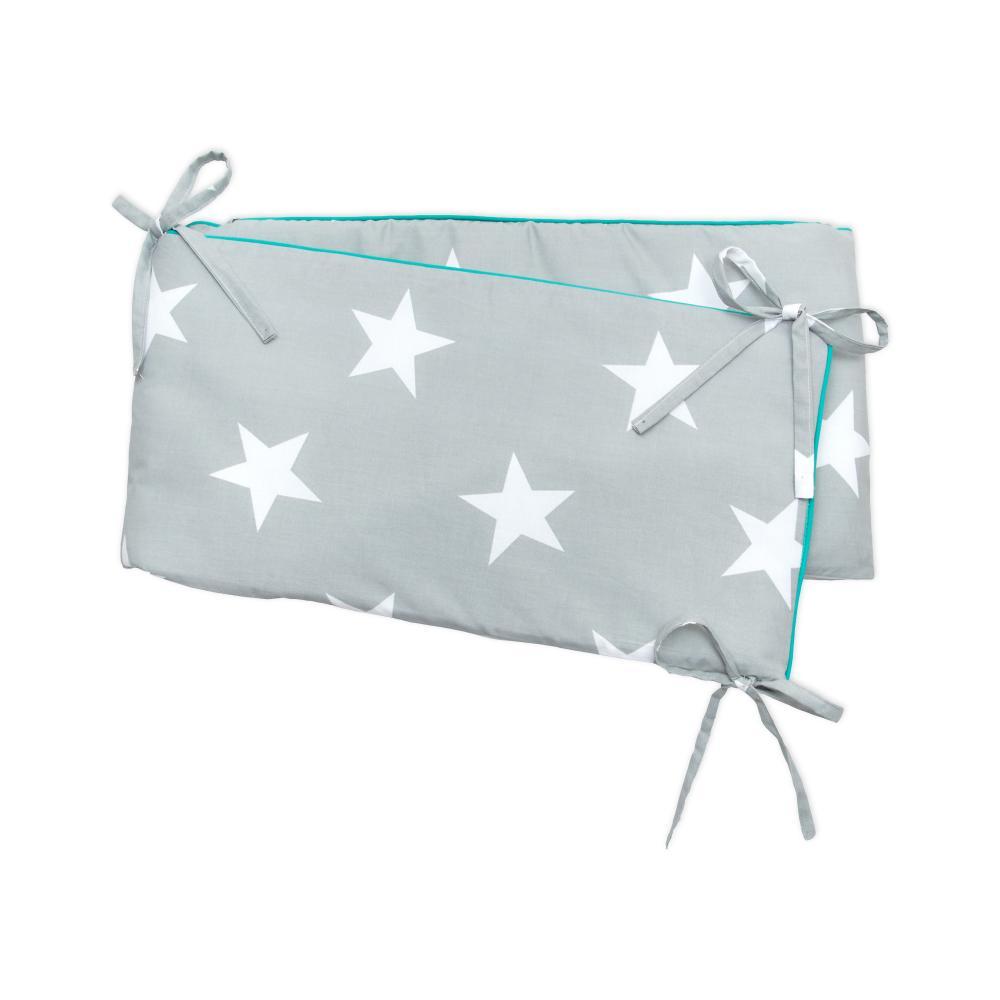 miniFifia Nestchen große weiße Sterne auf Grau Nestchenlänge 60-60-60 cm für Bettgröße 120 x 60 cm