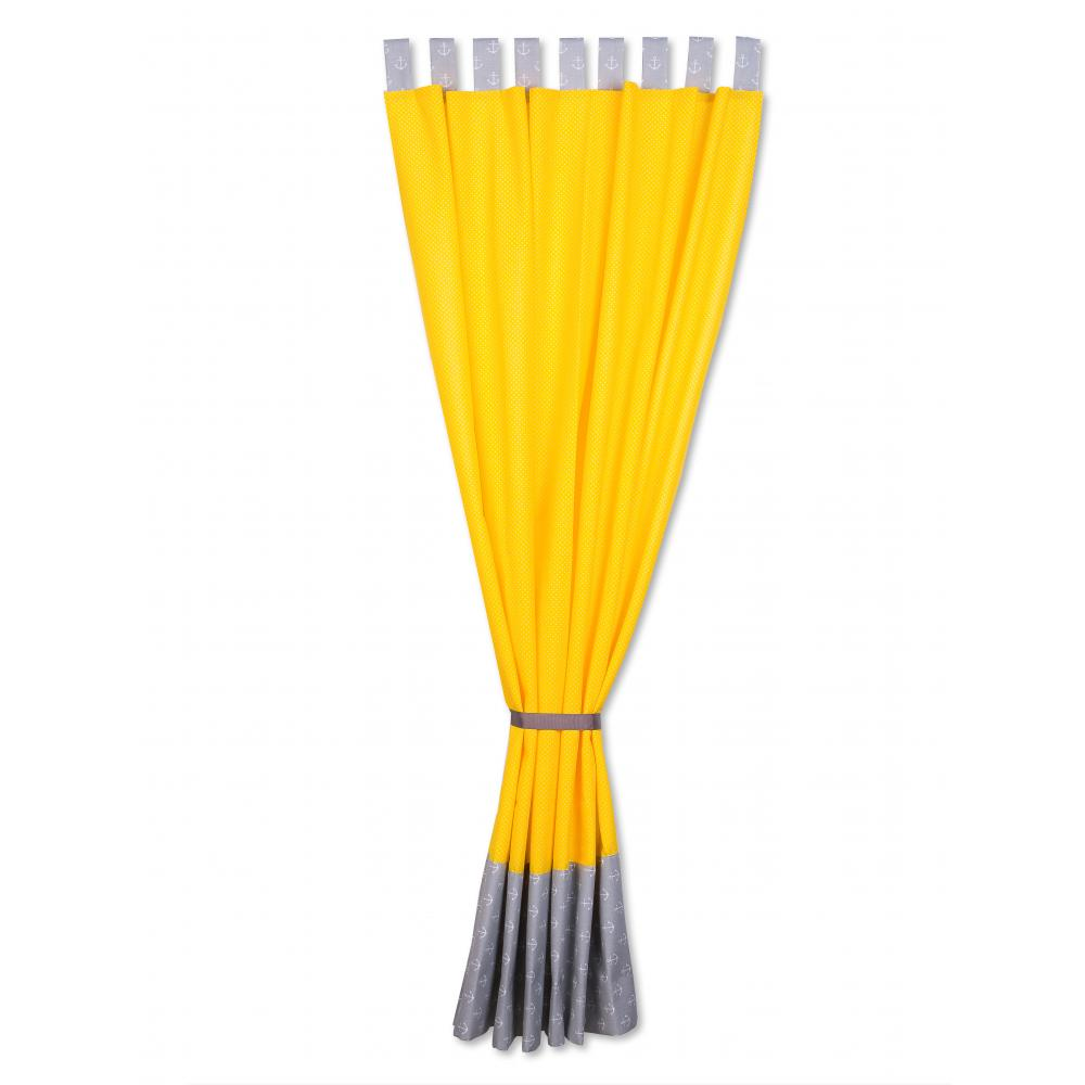 KraftKids Gardinen weiße Anker auf Grau und weiße Punkte auf Gelb Länge: 170 cm
