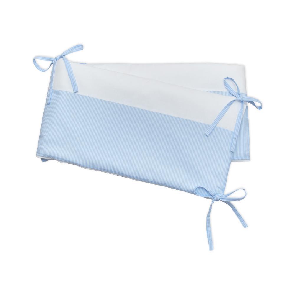 miniFifia Nestchen Uniweiss und Streifen hellblau dünn Nestchenlänge 60-60-60 cm für Bettgröße 120 x 60 cm