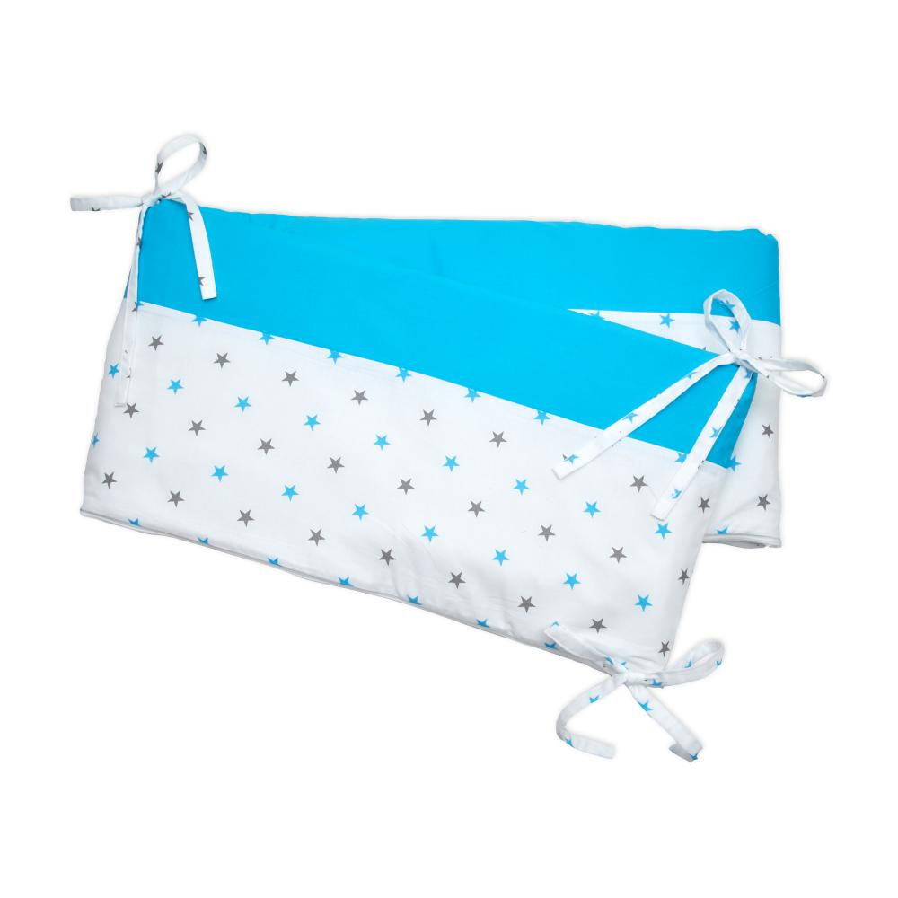 miniFifia Nestchen graue blaue Sterne auf Weiss und Unitürkis Nestchenlänge 60-70-60 cm für Bettgröße 140 x 70 cm