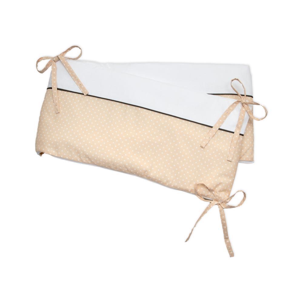 miniFifia Nestchen Uniweiss und weisse Punkte auf Beige Nestchenlänge 60-70-60 cm für Bettgröße 140 x 70 cm