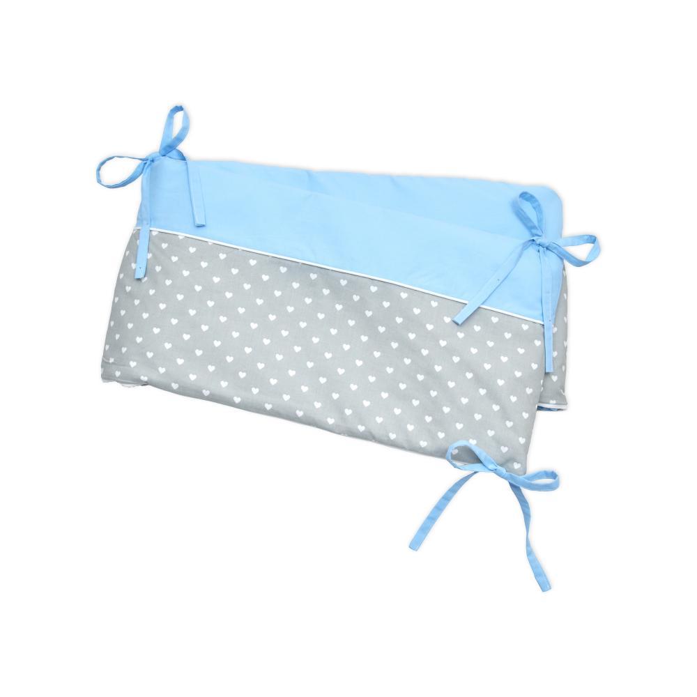 miniFifia Nestchen weiße Herzen auf Grau und Unihellblau Nestchenlänge 60-70-60 cm für Bettgröße 140 x 70 cm