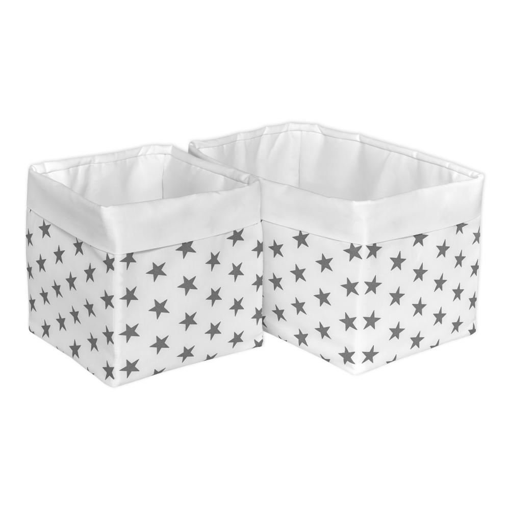 KraftKids Körbchen Uniweiss und kleine graue Sterne auf Weiss 20 x 20 x 20 cm