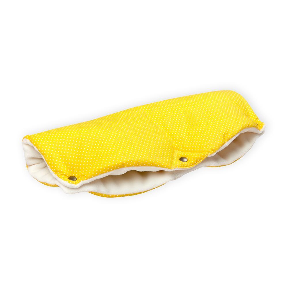 KraftKids Kinderwagenmuff weiße Punkte auf Gelb