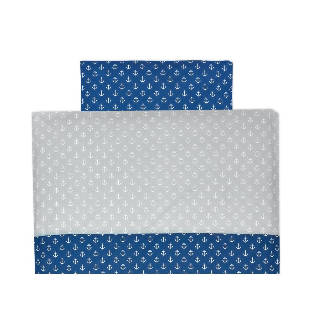 KraftKids Bettwäscheset weiße Anker auf Dunkelblau und weiße Anker auf Grau 100 x 135 cm, Kissen 40 x 60 cm