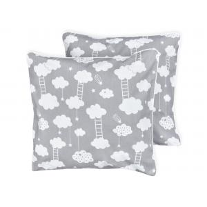miniFifia Kissenbezug weiße Wolken auf Grau