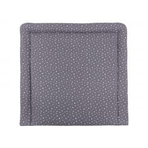 miniFifia Wickelauflage Musselin weiße Sterne auf Grau breit 75 x tief 70 cm