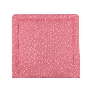 miniFifia Wickelauflage Musselin weiße Sterne auf Rosa breit 78 x tief 78 cm z. B. für MALM oder HEMNES Kommodenaufsatz von KraftKids