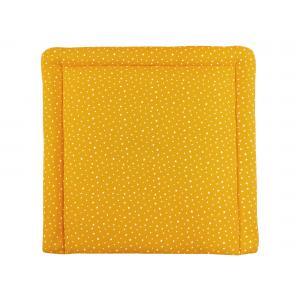 miniFifia Wickelauflage Musselin weiße Sterne auf Gelb Mustard 85 cm breit x 75 cm tief
