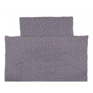 miniFifia Bettwäscheset Musselin weiße Sterne auf Grau 100 x 135 cm, Kissen 40 x 60 cm