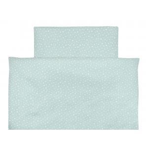 miniFifia Bettwäscheset Musselin weiße Sterne auf Mint 100 x 135 cm, Kissen 40 x 60 cm