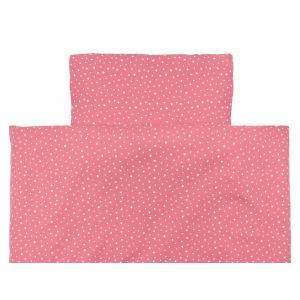 miniFifia Bettwäscheset Musselin weiße Sterne auf Rosa 100 x 135 cm, Kissen 40 x 60 cm