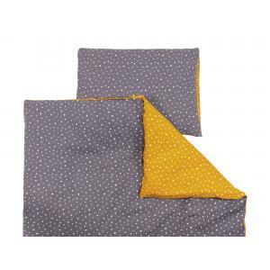 miniFifia Bettwäscheset Musselin weiße Sterne auf Gelb Mustard und Musselin weiße Sterne auf Grau 100 x 135 cm, Kissen 40 x 60 cm