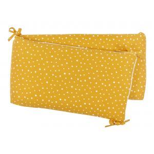 miniFifia Nestchen Musselin weiße Sterne auf Gelb Mustard Nestchenlänge 60-70-60 cm für Bettgröße 140 x 70 cm