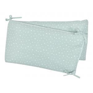 miniFifia Nestchen Musselin weiße Sterne auf Mint Nestchenlänge 60-60-60 cm für Bettgröße 120 x 60 cm