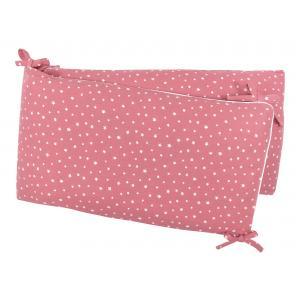 miniFifia Nestchen Musselin weiße Sterne auf Rosa Nestchenlänge 60-60-60 cm für Bettgröße 120 x 60 cm
