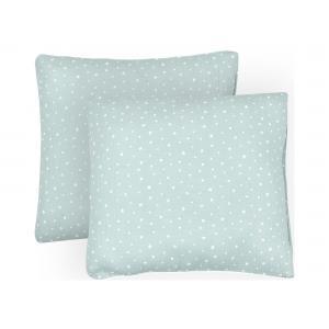 miniFifia Kissenbezug Musselin weiße Sterne auf Mint