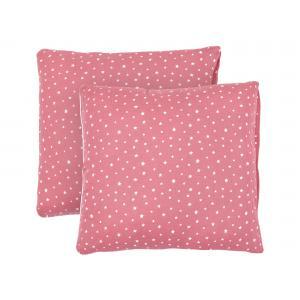 miniFifia Kissenbezug Musselin weiße Sterne auf Rosa