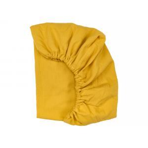KraftKids Spannbettlaken Doppelkrepp Gelb Mustard passend für Matratze 90 x 200 cm
