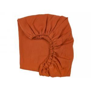KraftKids Spannbettlaken Doppelkrepp Rot Herbstrot passend für Matratze 90 x 200 cm
