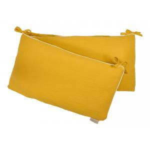 KraftKids Nestchen Doppelkrepp Gelb Mustard Nestchenlänge 60-60-60 cm für Bettgröße 120 x 60 cm