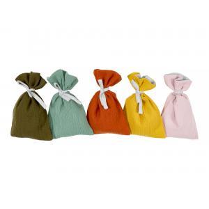 KraftKids Adventskalender Doppelkrepp Herbstgrün Gelb Rosa Weiß 24 Stoff Säckchen zum Befüllen Baumwolle verschiedene Farbrichtungen für Groß und Klein