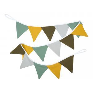 KraftKids Wimpelkette Doppelkrepp Grün Gelb Grau Herbstgrün