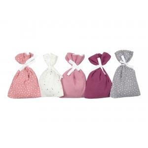 KraftKids Adventskalender Musselin Rosa Purpur Weiß Grau 24 Stoff Säckchen zum Befüllen Baumwolle verschiedene Farbrichtungen für Groß und Klein
