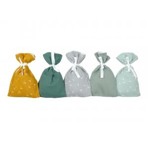 KraftKids Adventskalender Musselin Gelb Grün Grau 24 Stoff Säckchen zum Befüllen Baumwolle verschiedene Farbrichtungen für Groß und Klein